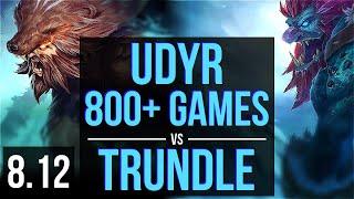 UDYR vs TRUNDLE (JUNGLE) ~ 800+ games, KDA 7/0/1, Godlike ~ EUW Master ~ Patch 8.12