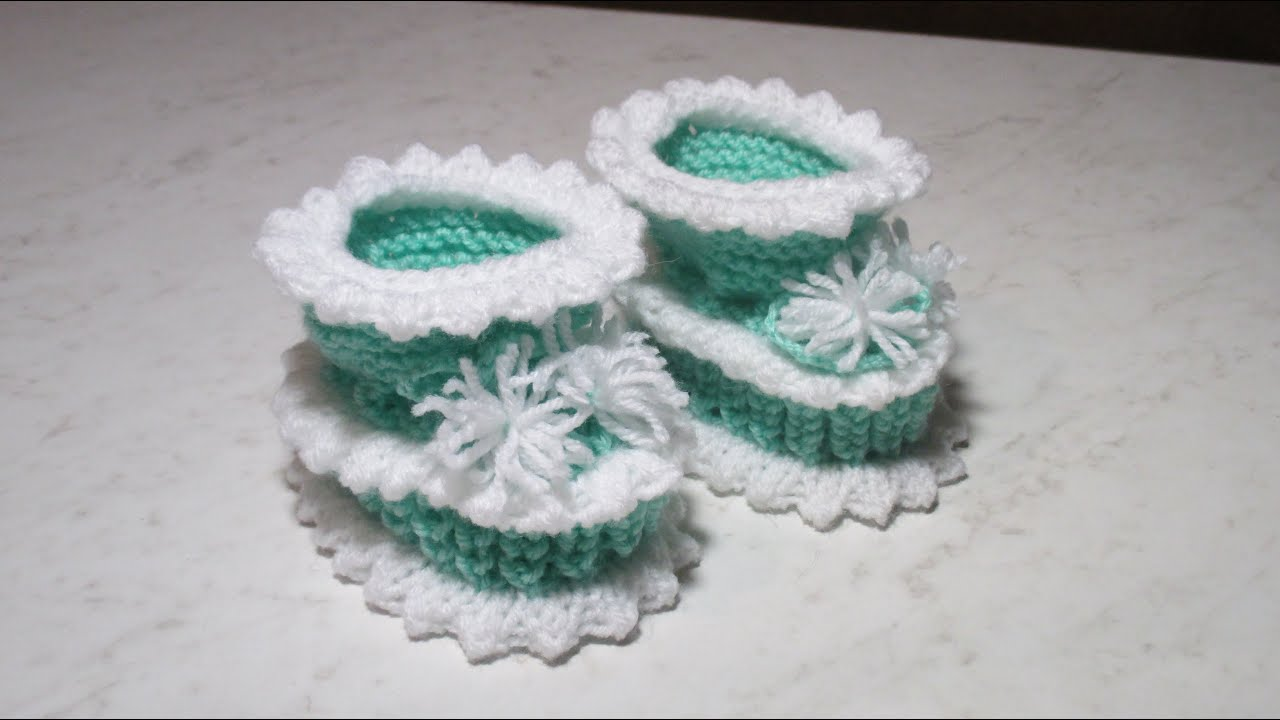 Пинетки нежные вязание бортика 76