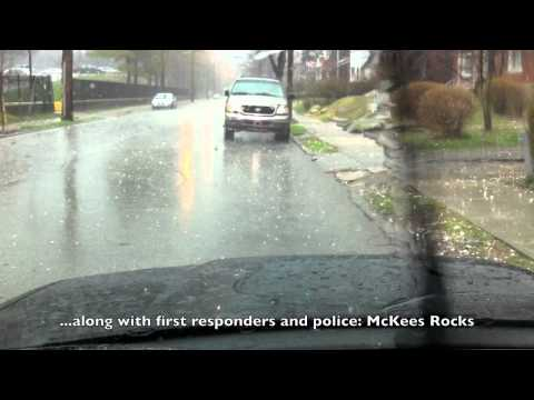 Pittsburgh Hail Storm 3-23-11 Officer Hit In Head On Police Radio