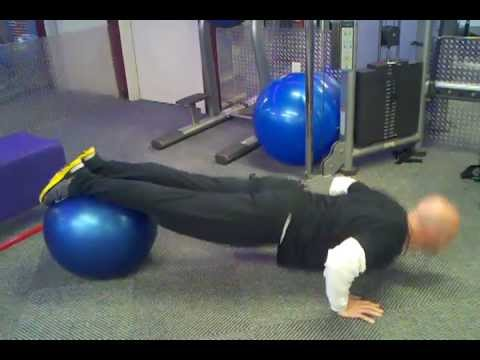 Stability Ball Pushups - Bootcamp Workout Circuits Image 1