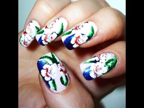 One Stroke Roses Nail Art Design