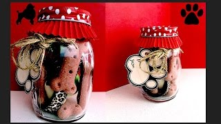 How To Make MASON JAR DOG GIFT PUPPY BIRTHDAY PRESENT - DIY Dog Food By Cooking For Dogs