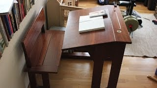 Old School Desk -  Made in solid mahogany