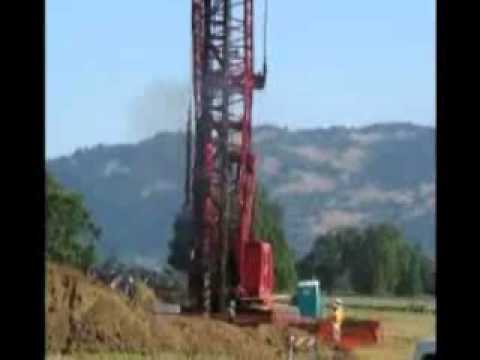 Pile driver, Willits California caltrans bypass construction.