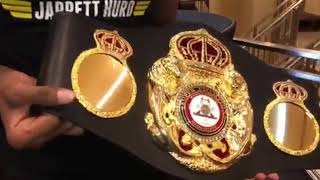 Unbeaten WBA Super Welterweight Super Champion Jarrett Hurd receives his WBA Belt in NY