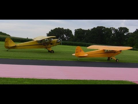 2/3 giant scale Piper Cub J 3 scratch built RC airplane SMMAC 7-5-2010
