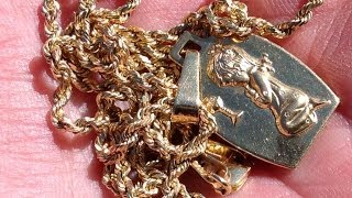 Incredible Find!!!: 14K Gold Rope Necklace And Pendant