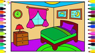 Vẽ phòng ngủ cho bé | How to Draw a Bedroom Step by Step for Kids