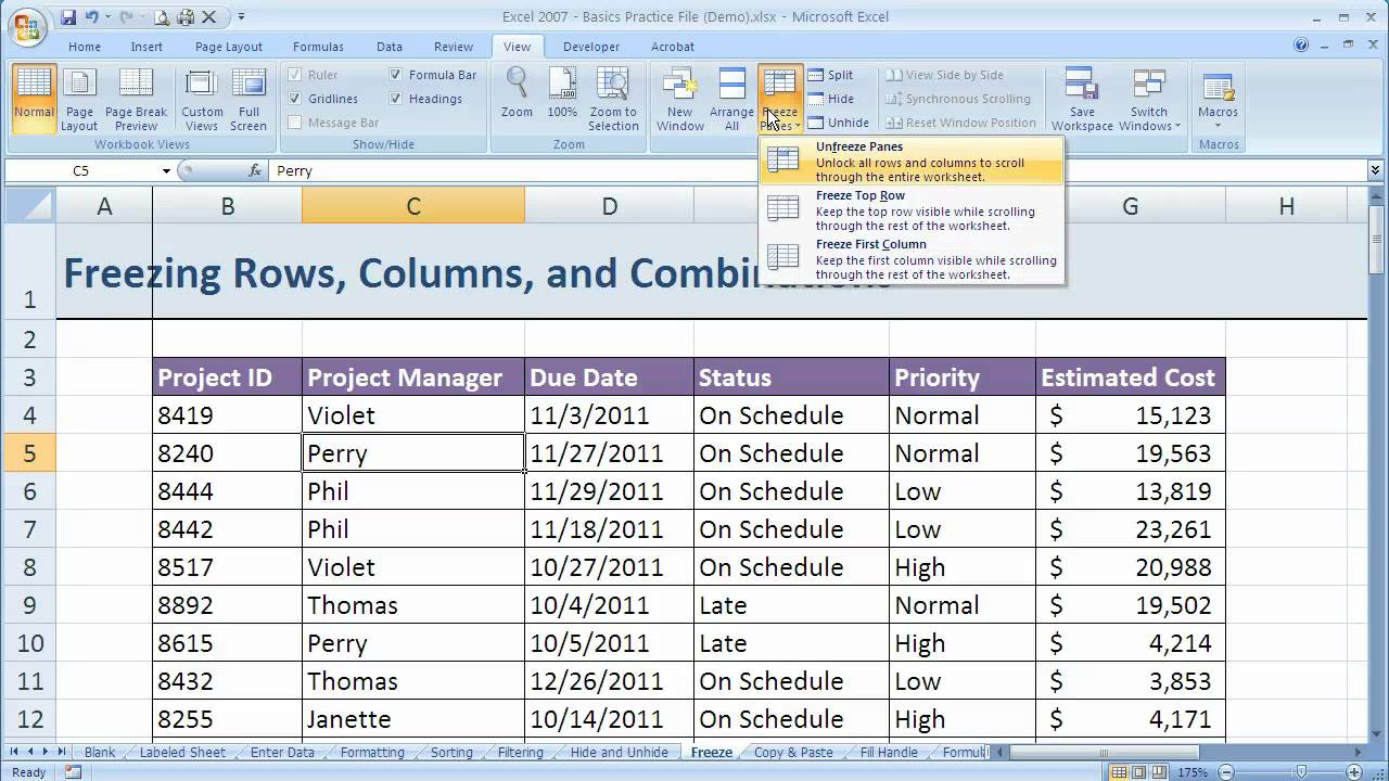 how to fix a column in excel