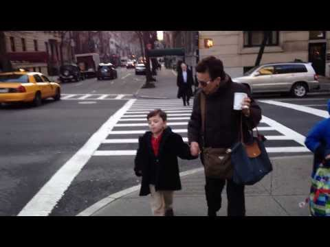 Asher and Gammy walking to The Browning School (Jan 15th, 2014) - 01/15/2014