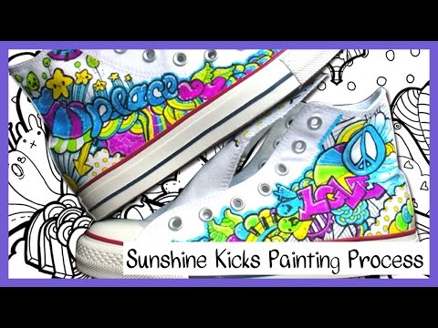 Sunshine Kicks DIY Custom Converse Hi Tops Process Painting