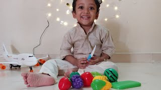 LEARN FRUITS AND VEGETABLES NAMES AND COLORS WITH VELCRO CUTTING TOYS