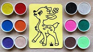 Đồ chơi trẻ em TÔ MÀU TRANH CÁT CHÚ NAI CON - Sand painting bambi toys kids (Chim Xinh)