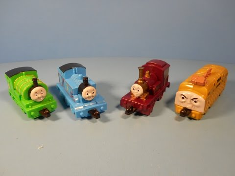 2000 THOMAS and THE MAGIC RAILROAD SET OF 4 SUBWAY KID'S MEAL TOY'S VIDEO REVIEW