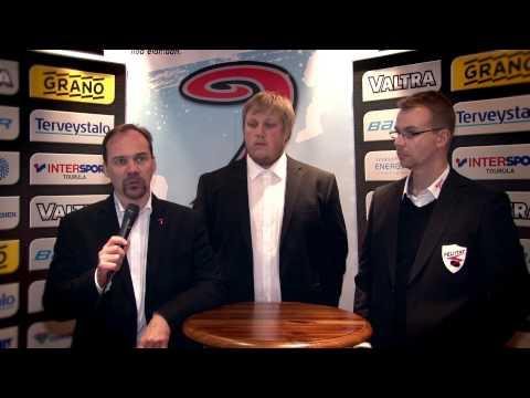 Lehdistötilaisuus ottelusta JYP-Akatemia - Peliitat 24.9.2014