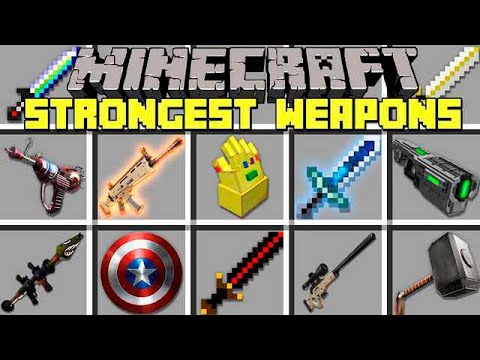 Minecraft STRONGEST WEAPONS MOD l INFINITY GAUNTLET, FORTNITE SCAR, RPG & MORE! l Modded Mini-Game