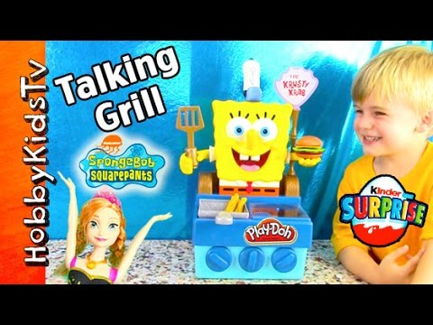 New! Talking Spongebob Krabby Patty Grill Toy! Kinder Egg Surprise Nickelodeon Frozen Hobbykidstv video