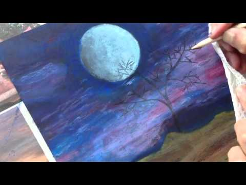 Classplan moon night oil pastel on black card stock for Easy oil painting tutorial