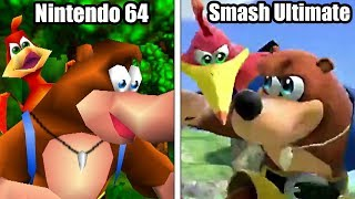 Super Smash Bros Ultimate: Banjo Kazooie Moveset Origins & Comparison (Nintendo 64 VS Ultimate)