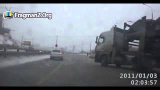 Car transport truck out of control destroyed electric wire poles
