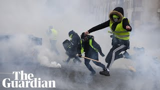 Ninth weekend of gilets jaunes protests sees police use water cannon in Paris