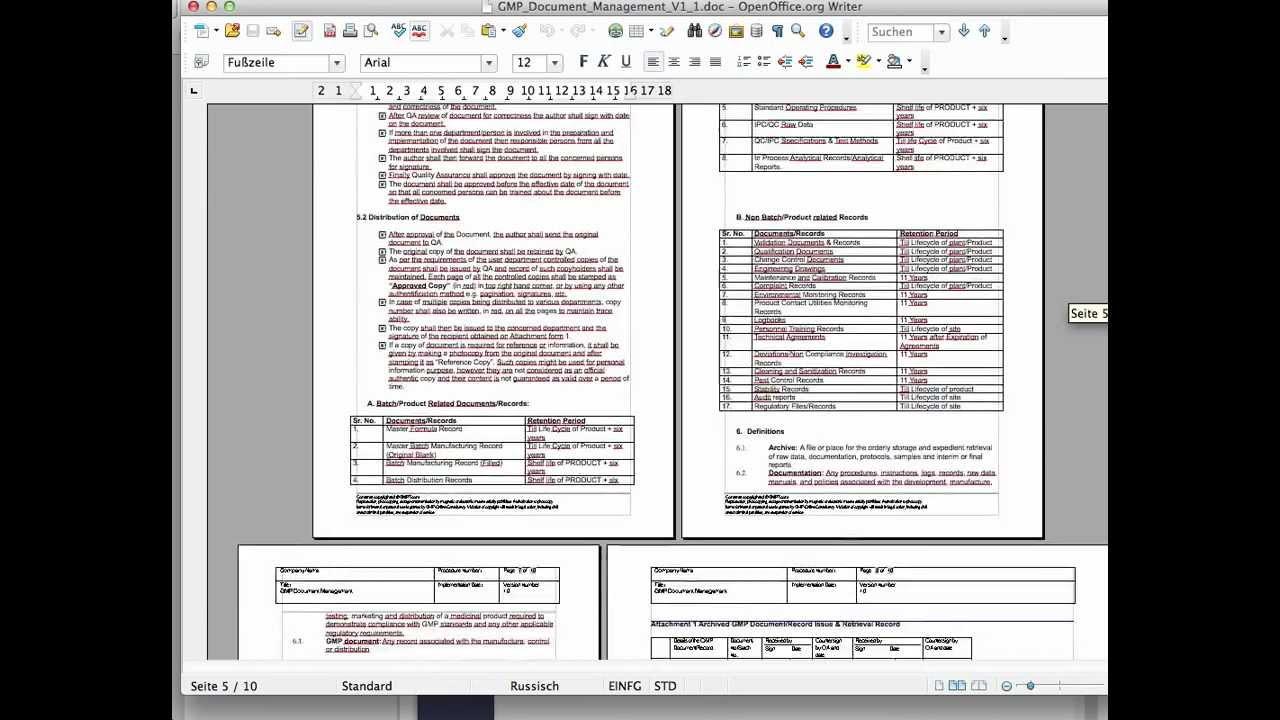 Gmp Document Management Standard Operation Procedure