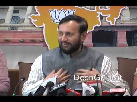 Prakash Javdekar's media briefing at Gujarat BJP headquarter