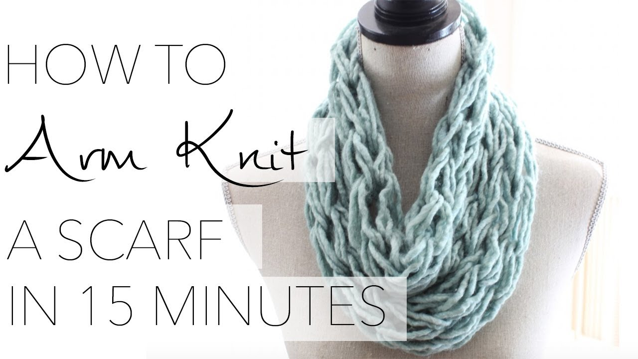 Arm Knit Scarf Pattern : How to Arm Knit a Single Wrap Infinity Scarf in 20 Minutes with Simply Maggie...