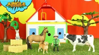 Farmer takes care of FARM ANIMALS | horse cow sheep goat ranch stable children