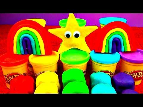 Play Doh Rainbow Eggs! Mario Peppa Pig Frozen Cars Toy Story Hellokitty Spongebob Disney FluffyJet