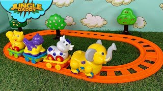 """ANIMAL TRAIN for kids! """"Jungle Daddy"""" learn zoo cute animals toddler children toys"""