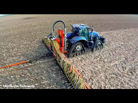 New Holland T7. 270 Blue Power on Soucy Tracks | Injecting slurry w/ umbilical system | LB Breure