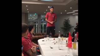 Neymar jr preforming customary sing song at first PSG team Dinner