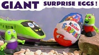 Funny Funlings and Thomas and Friends Giant Kinder Surprise Egg Hunt toy train stories TT4U
