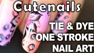 Gradient nail art: tie and dye flowers & buble