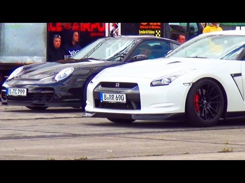Porsche 911 Turbo 997 vs Nissan GTR Drag Race 1/4 Mile Viertelmeile Rennen Acceleration
