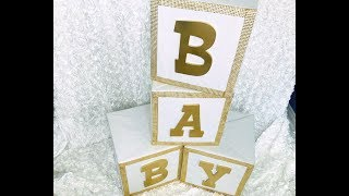 DIY Glam Baby Shower Block Letters - featuring Totally Dazzled