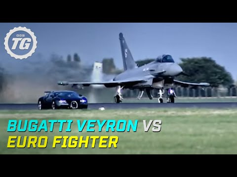 BBC: Bugatti Veyron vs Euro Fighter Typhoon Drag Race - Top Gear Video