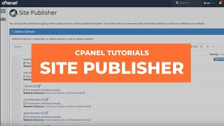 cPanel Tutorials - How to Use Site Publisher to Create a Website Fast!