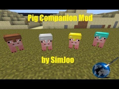 Minecraft [Mod Showcase] : Pig Companion Mod 1.4.5 Review and Tutorial