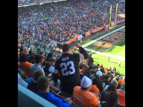 Browns fan celebrates during win over Steelers.