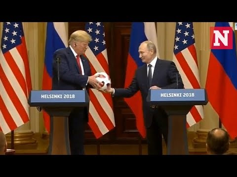 Watch: Putin Gives Trump Soccer Ball And Trump Throws It To Melania At Press Conference