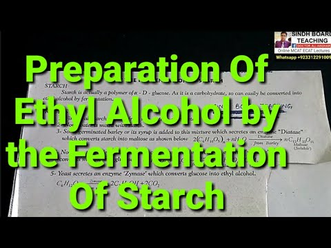 """XII Organic Chemistry """"Preparation Of Ethyl Alcohol by the Fermentation of Starch"""""""