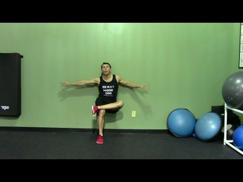 One Leg Wall Sit - HASfit Squat Exercise Demonstration - One Leg Wall Squat Form