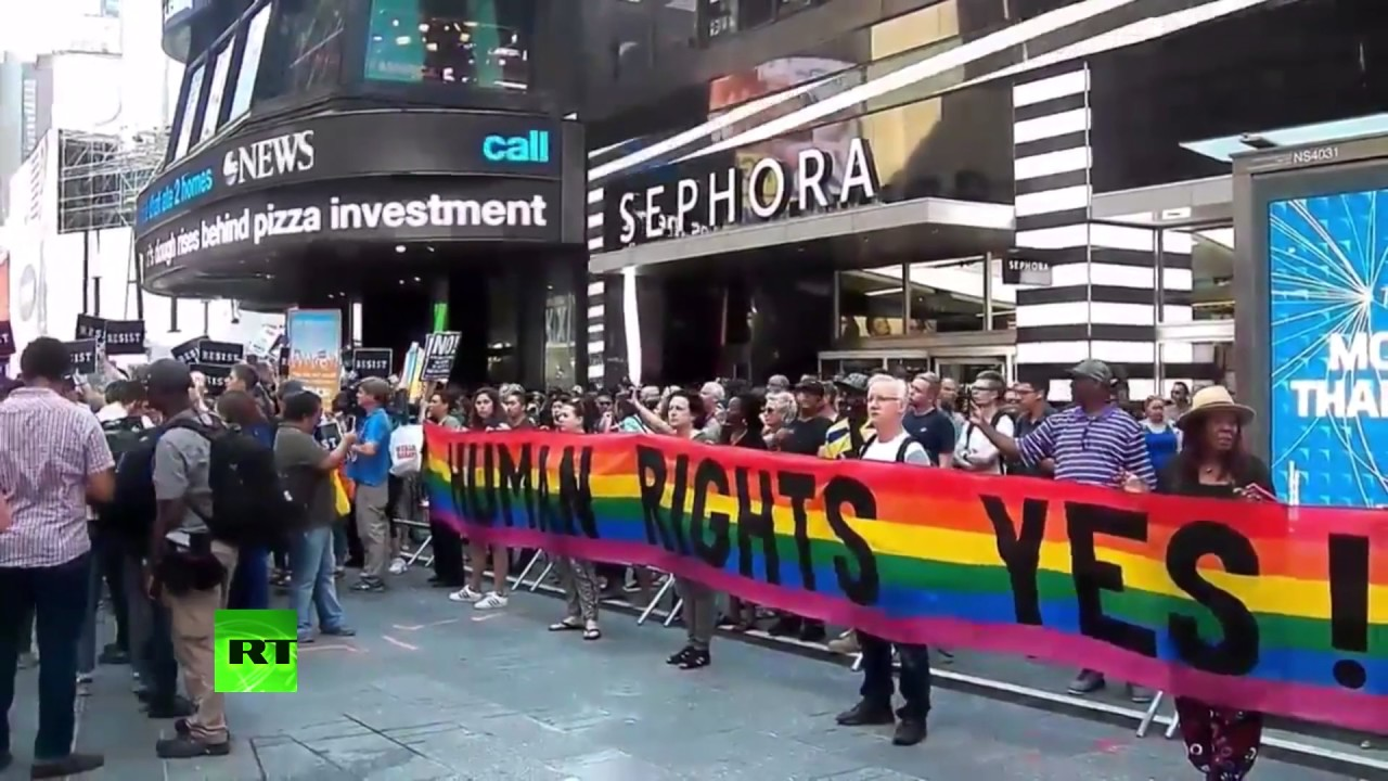 Protesters flood Times Square in demo against Trump's transgender service ban