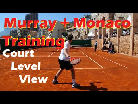 Andy Murray-Juan Monaco Training 2013 Court Level View