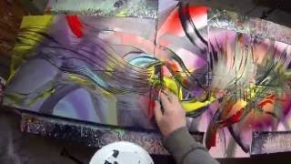 Abstract acrylic painting Demo HD Video - Treefingers by John Beckley