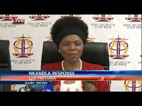 Public Protector, Thuli Madonsela reacts after Nkandla ruling in the Constitutional Court
