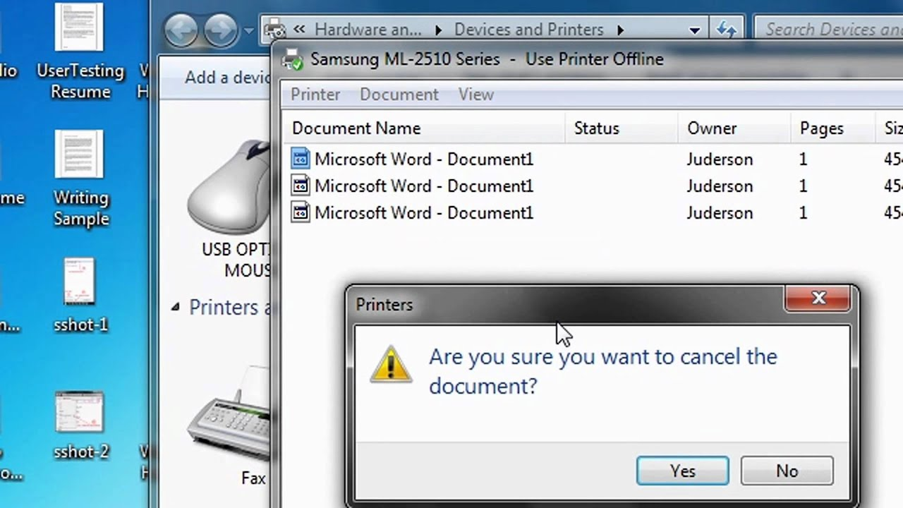 windows 7  how to easily clear the printer queue