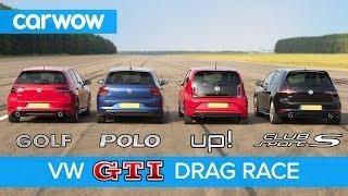 VW Golf GTI v Polo GTI v Golf Clubsport S v Up! GTI - DRAG & ROLLING RACE   carwow